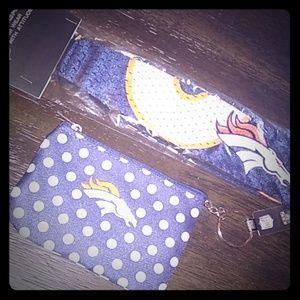 Denver Broncos Headband & coin Id wallet purse set